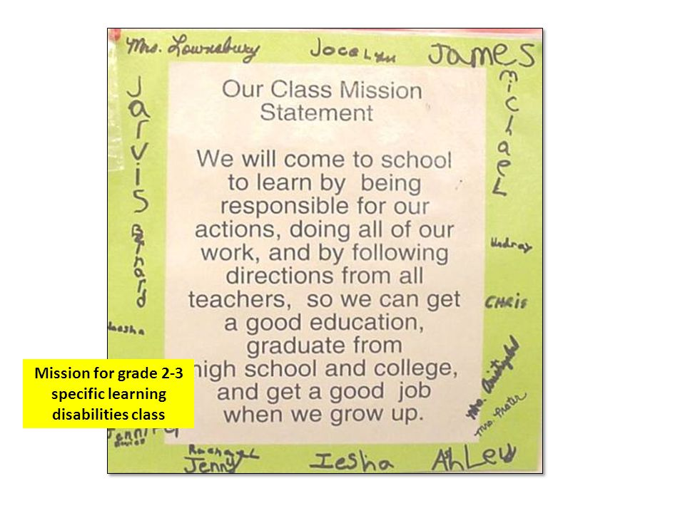 Mission for grade 2-3 specific learning disabilities class