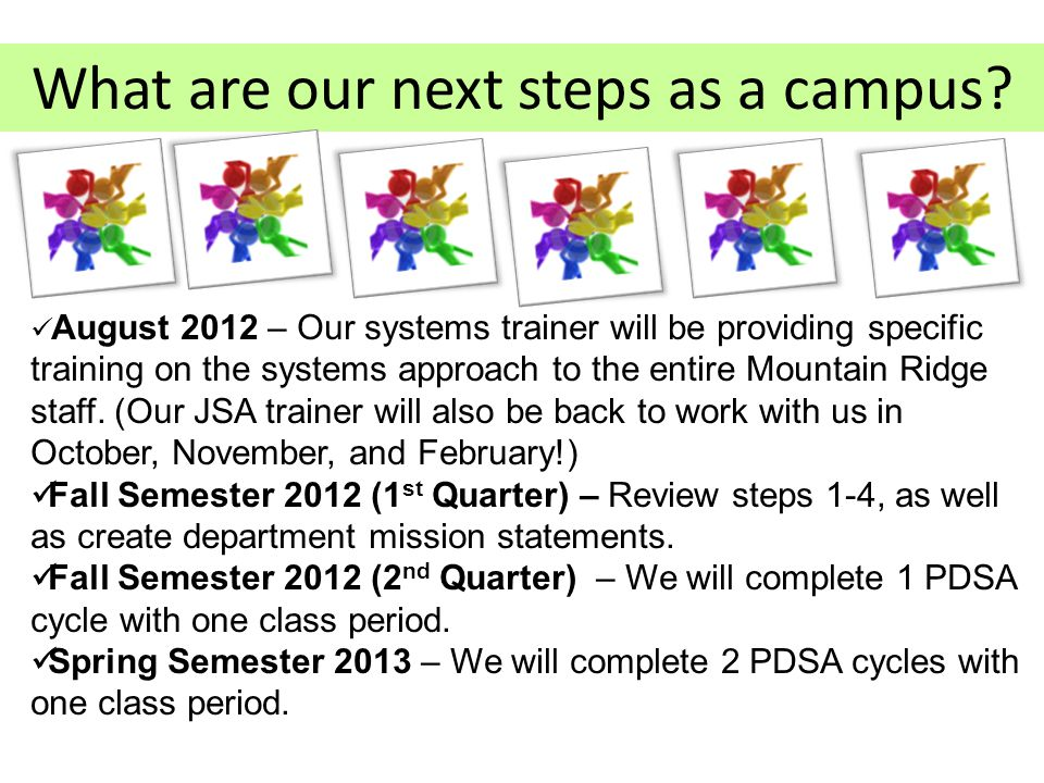 What are our next steps as a campus