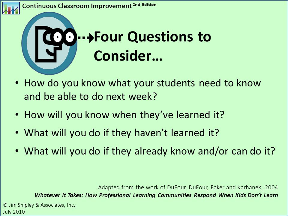 Four Questions to Consider…