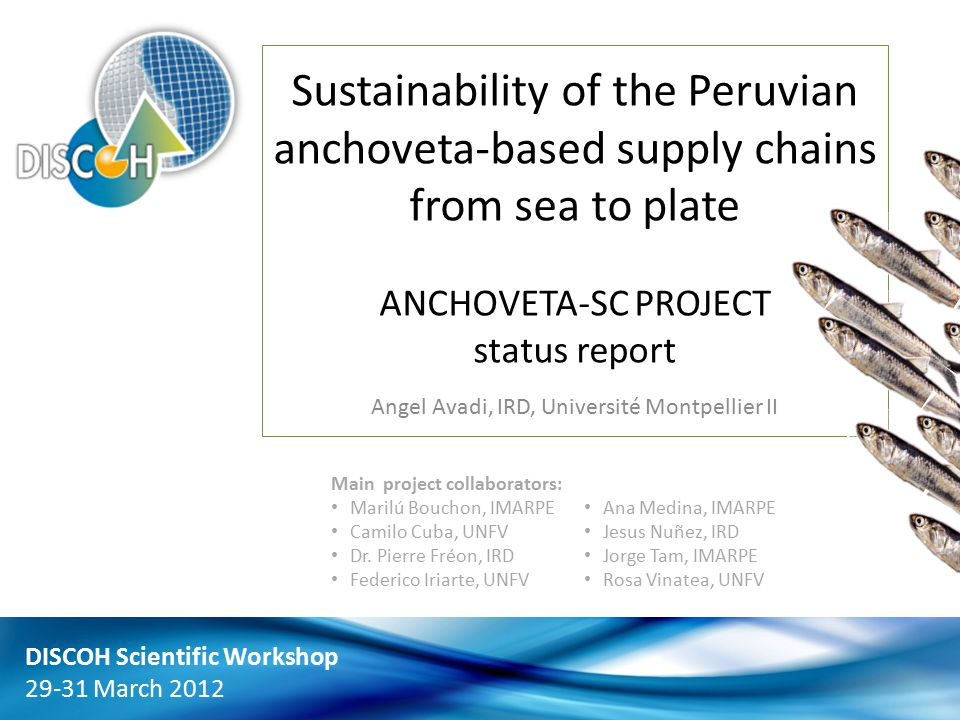 Sustainability of the Peruvian anchoveta-based supply chains from sea to plate ANCHOVETA-SC PROJECT status report Angel Avadi, IRD, Université Montpellier II