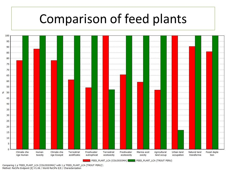 Comparison of feed plants