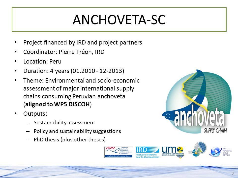ANCHOVETA-SC Project financed by IRD and project partners