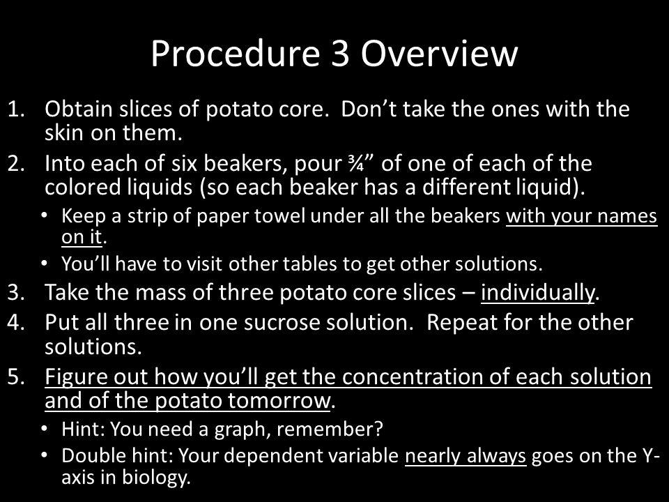 Procedure 3 Overview Obtain slices of potato core. Don't take the ones with the skin on them.