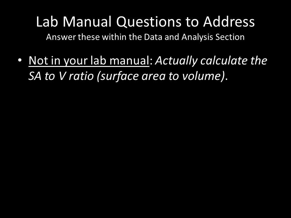 Lab Manual Questions to Address Answer these within the Data and Analysis Section