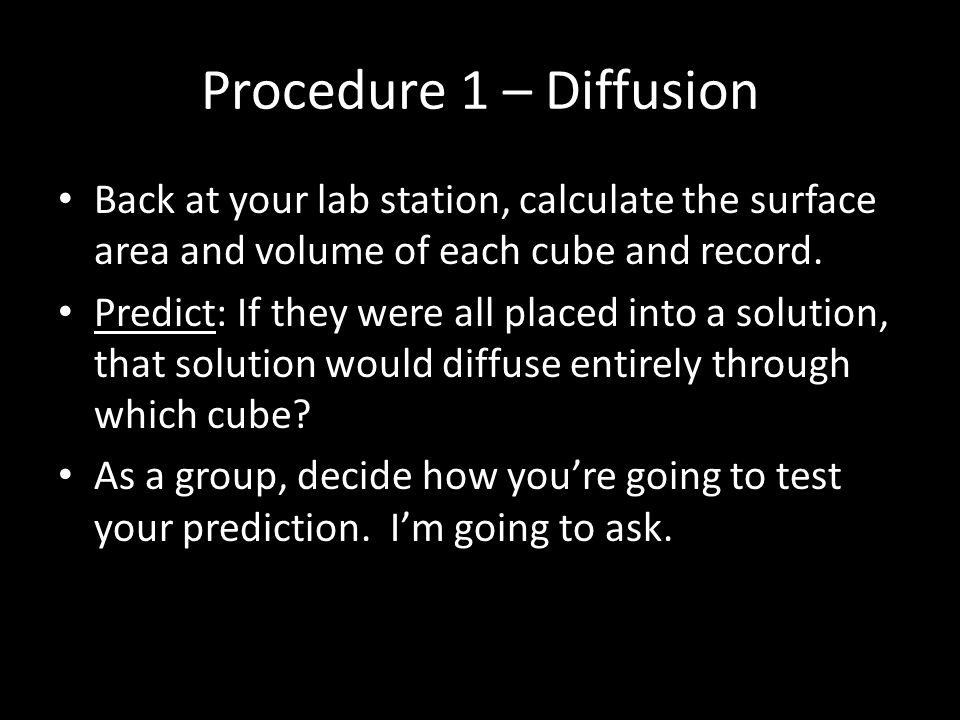 Procedure 1 – Diffusion Back at your lab station, calculate the surface area and volume of each cube and record.