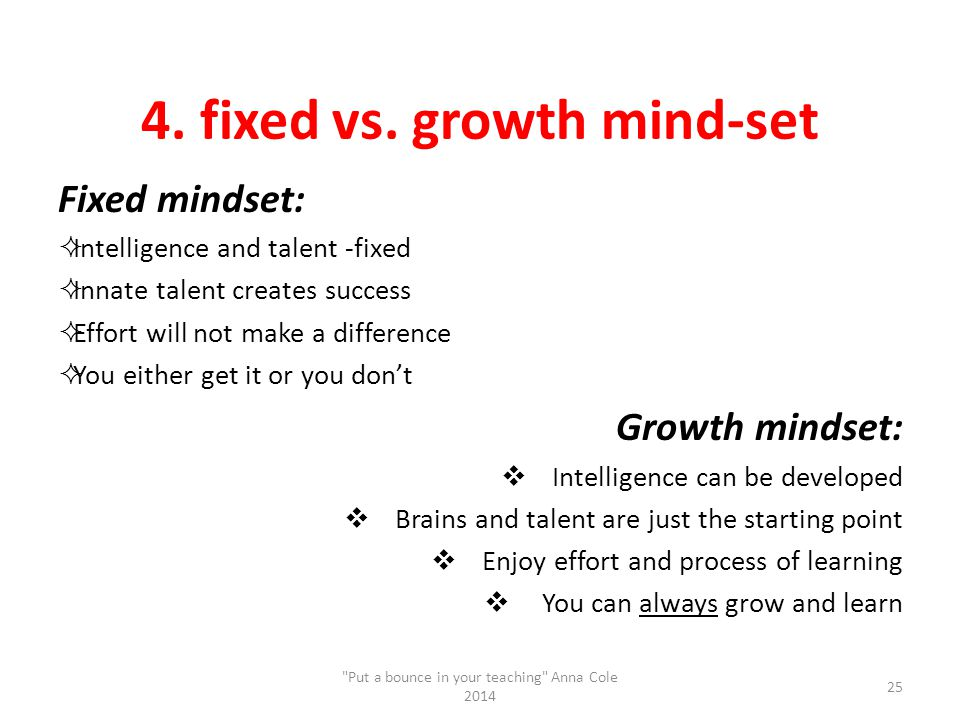4. fixed vs. growth mind-set