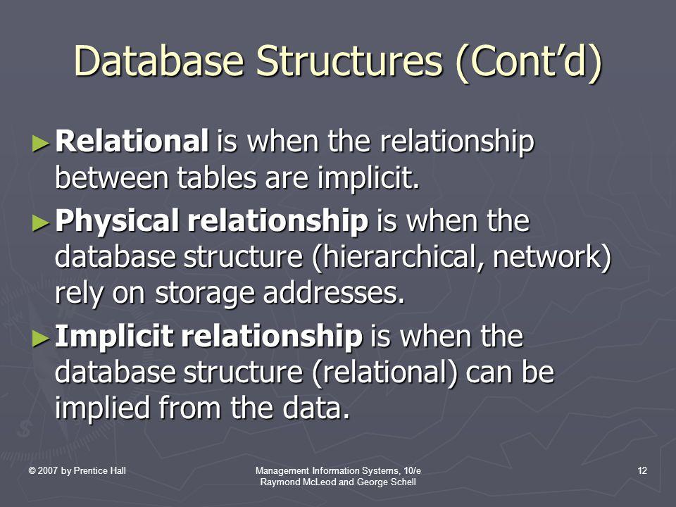Database Structures (Cont'd)