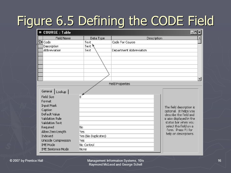 Figure 6.5 Defining the CODE Field