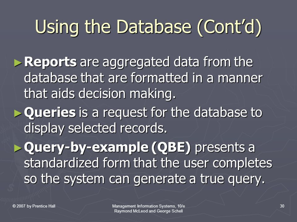 Using the Database (Cont'd)
