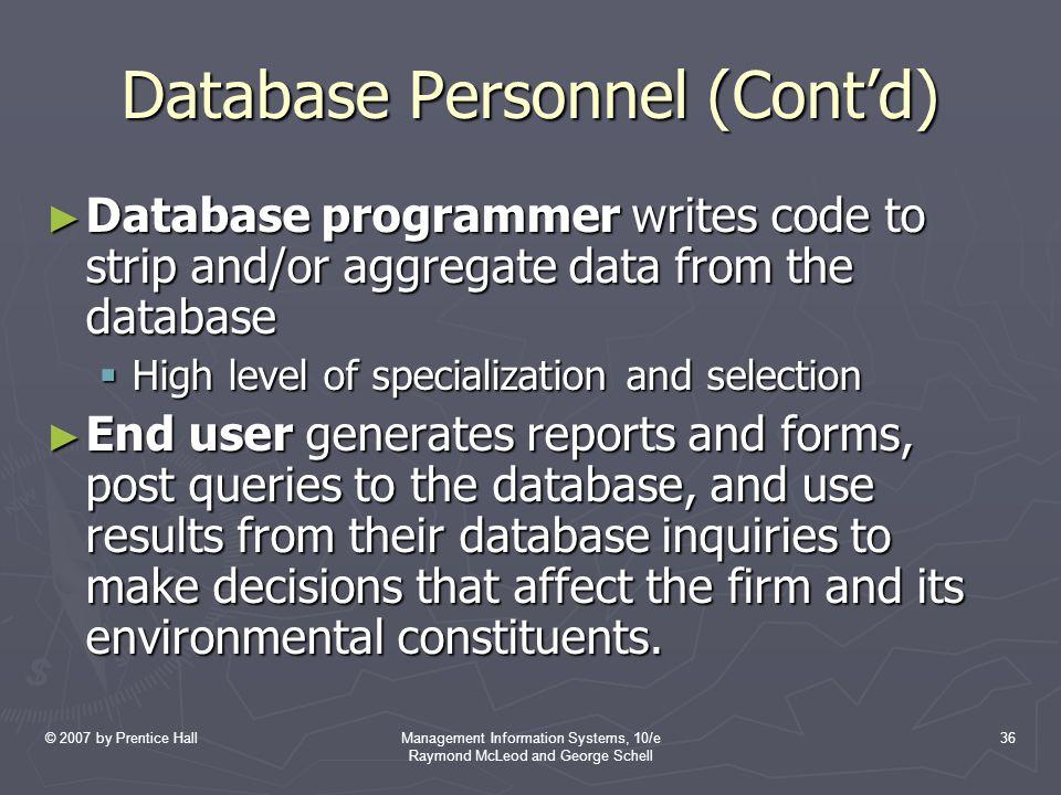 Database Personnel (Cont'd)