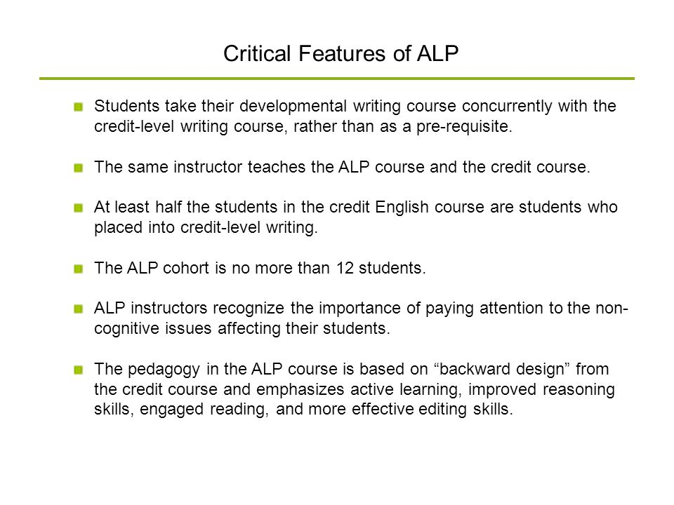 Critical Features of ALP