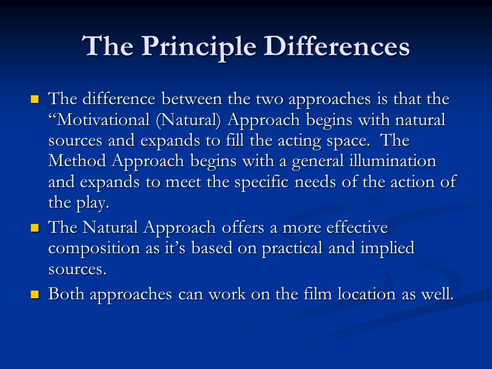 The Principle Differences