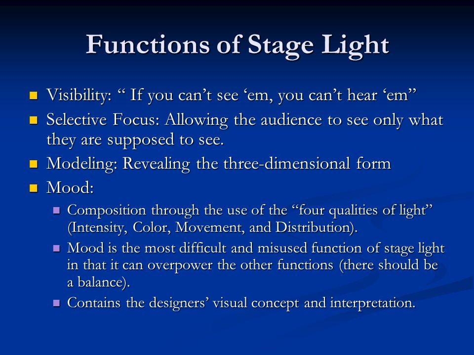 Functions of Stage Light
