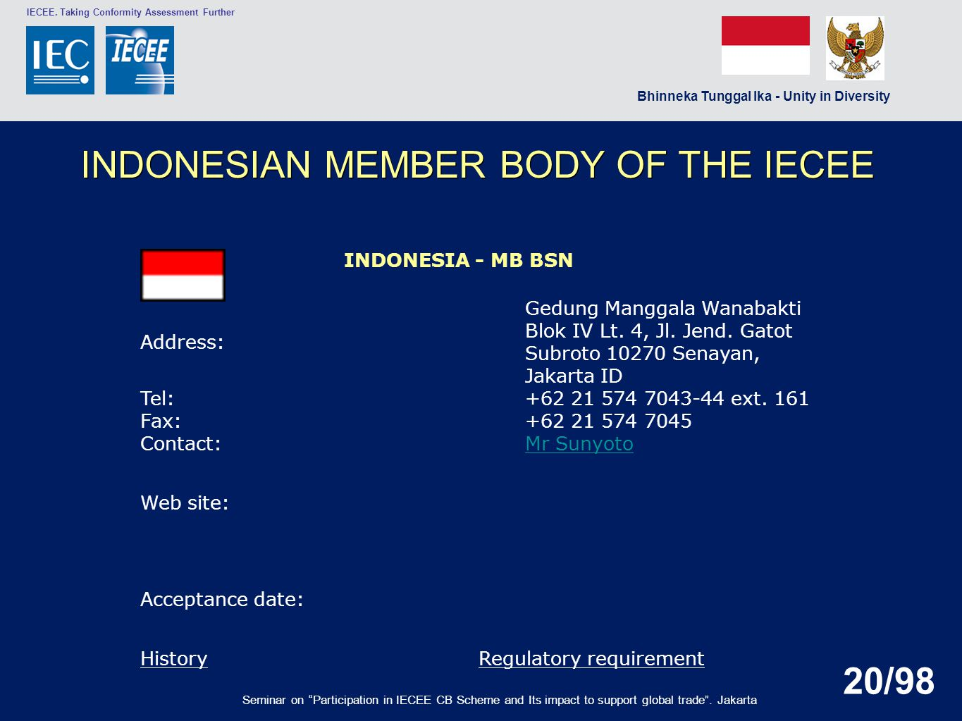 INDONESIAN MEMBER BODY OF THE IECEE