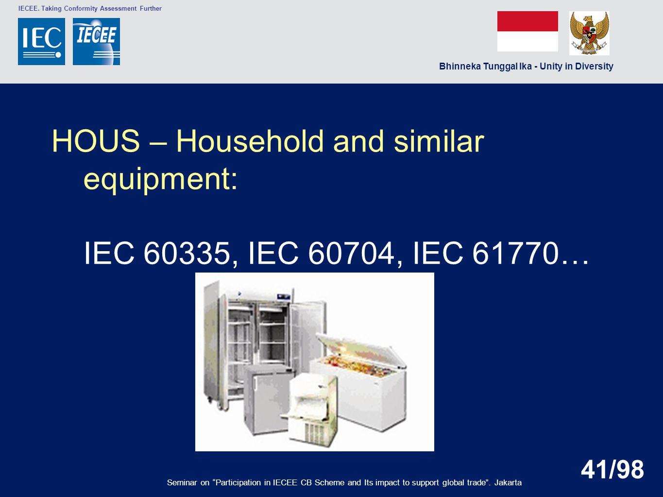 HOUS – Household and similar equipment: IEC 60335, IEC 60704, IEC 61770…