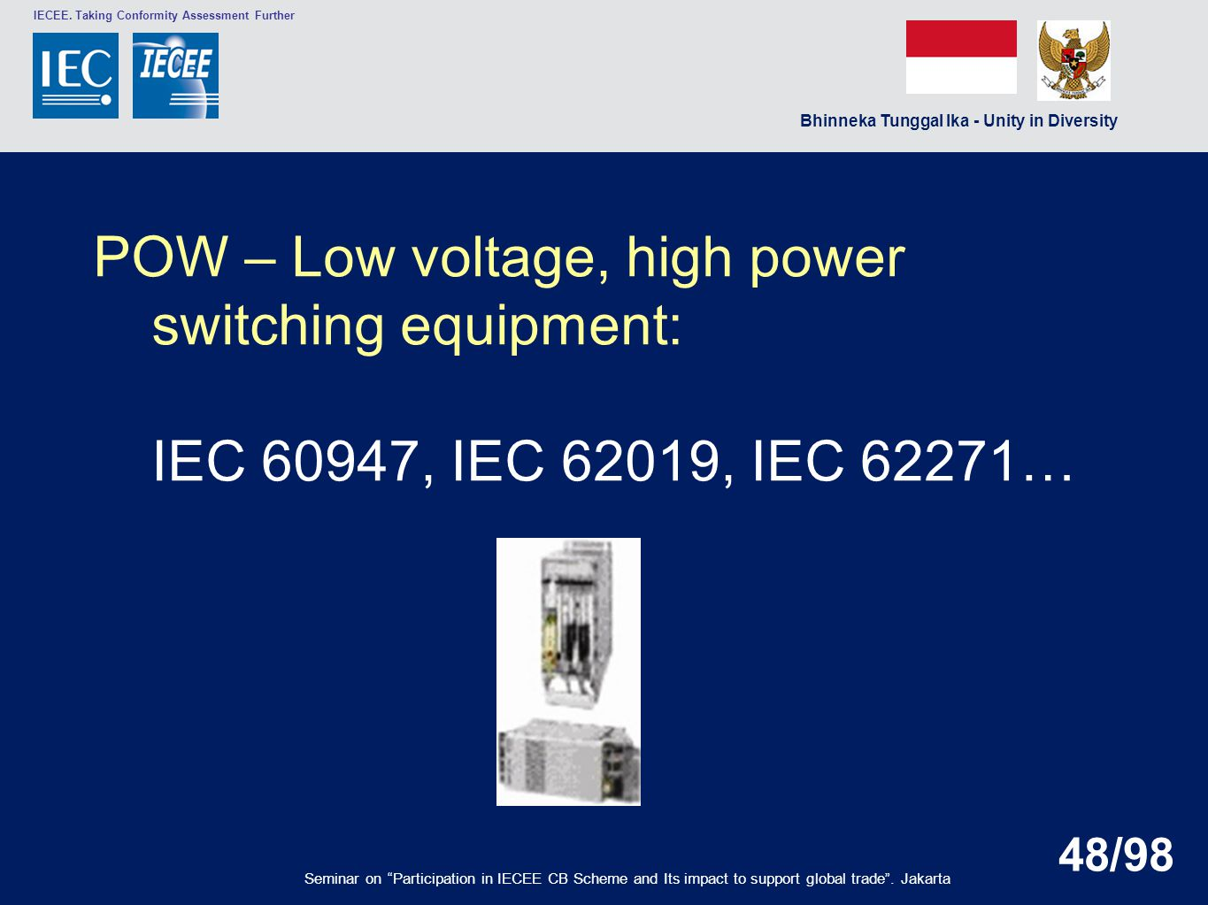 POW – Low voltage, high power switching equipment: IEC 60947, IEC 62019, IEC 62271…