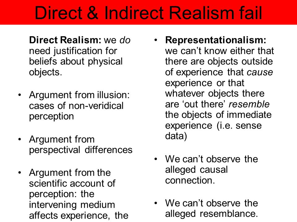 Direct & Indirect Realism fail