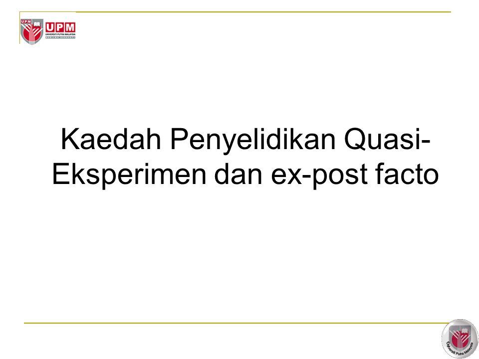 Kaedah Penyelidikan Quasi-Eksperimen dan ex-post facto