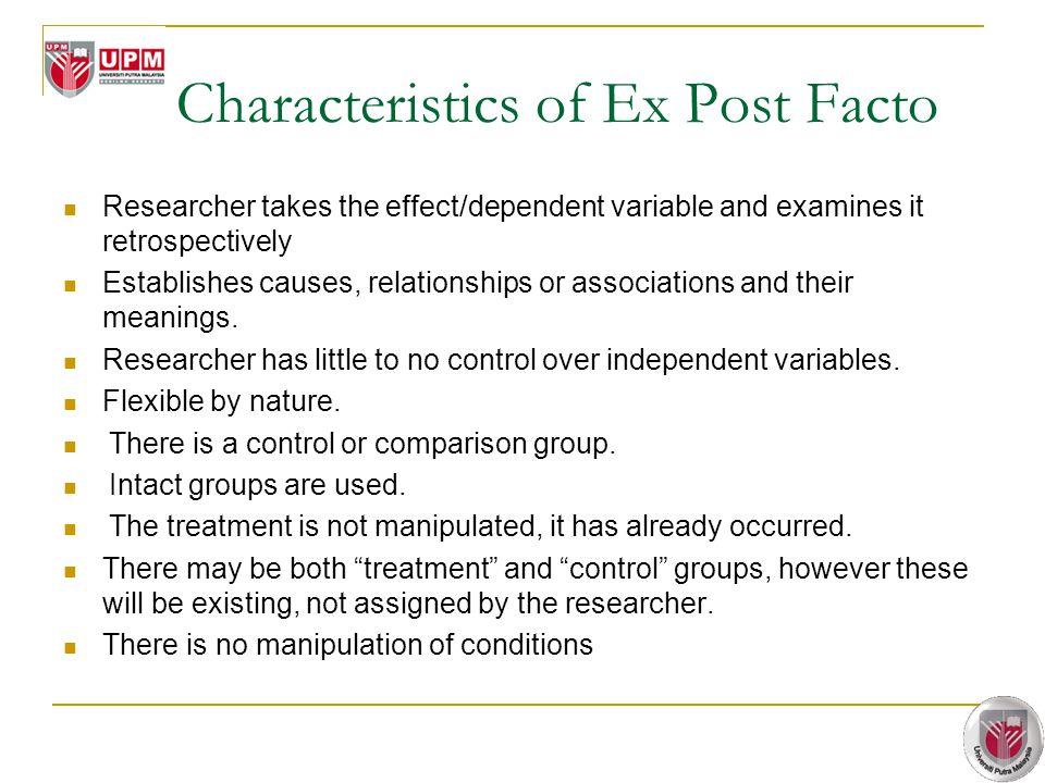 Characteristics of Ex Post Facto
