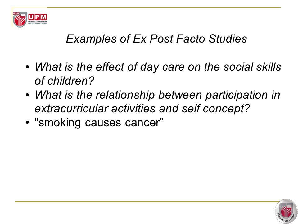 Examples of Ex Post Facto Studies