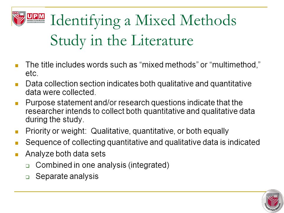 Identifying a Mixed Methods Study in the Literature