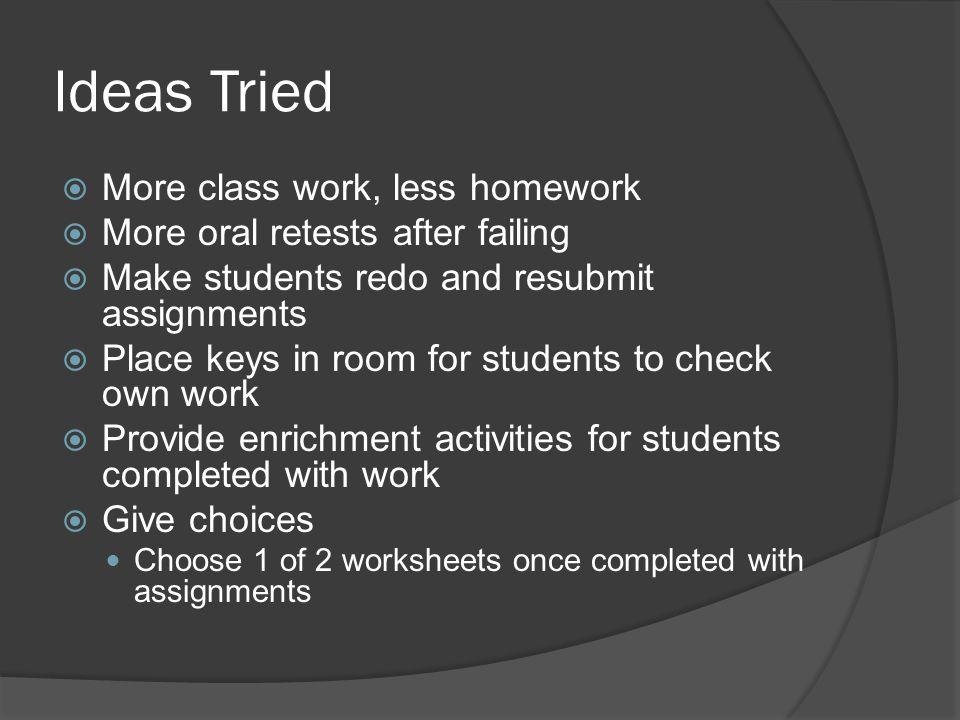 Ideas Tried More class work, less homework