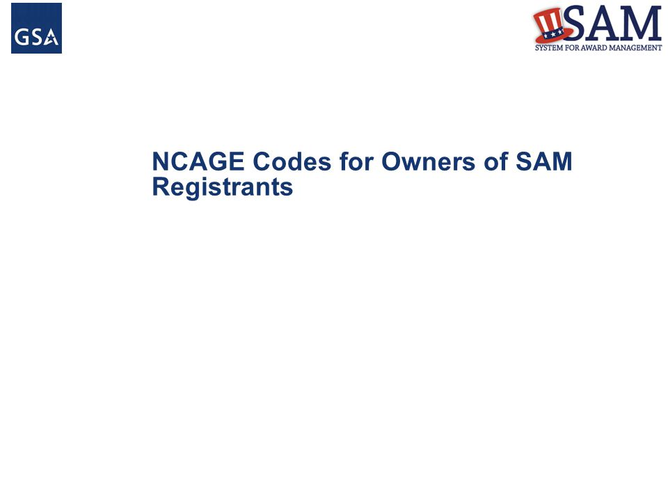 NCAGE Codes for Owners of SAM Registrants