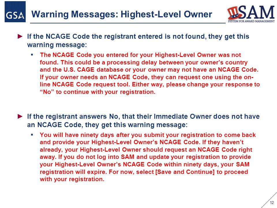Warning Messages: Highest-Level Owner