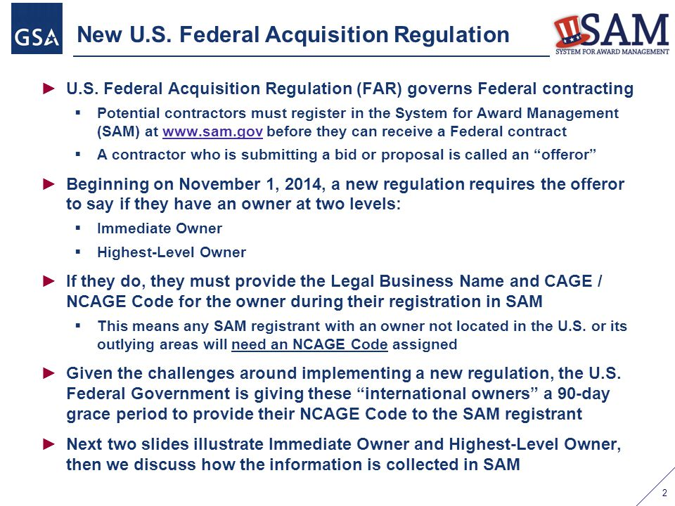 New U.S. Federal Acquisition Regulation