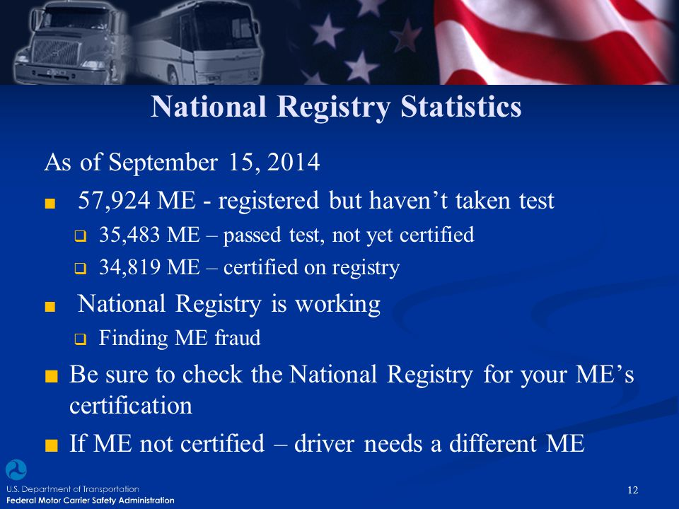 National Registry Statistics