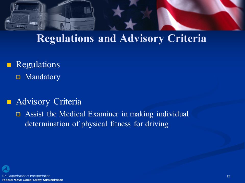 Regulations and Advisory Criteria