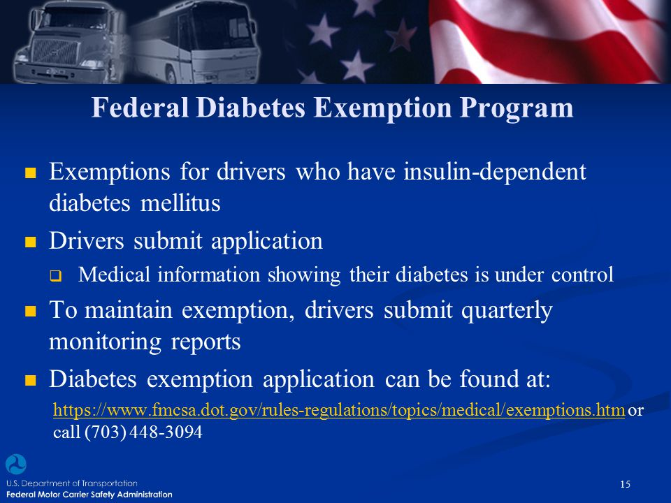 Federal Diabetes Exemption Program