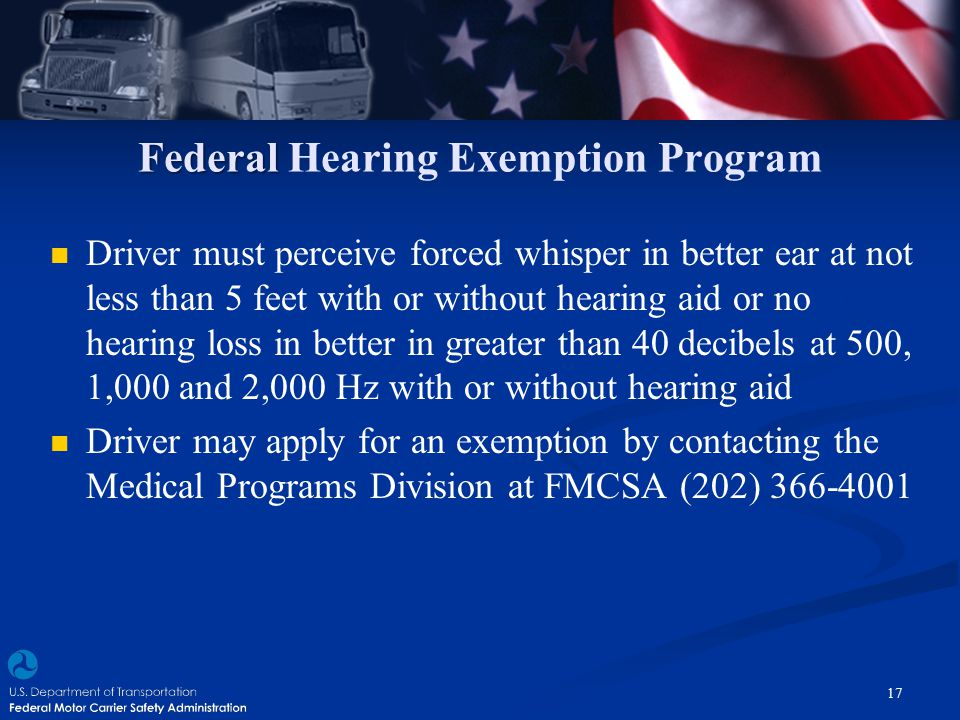 Federal Hearing Exemption Program