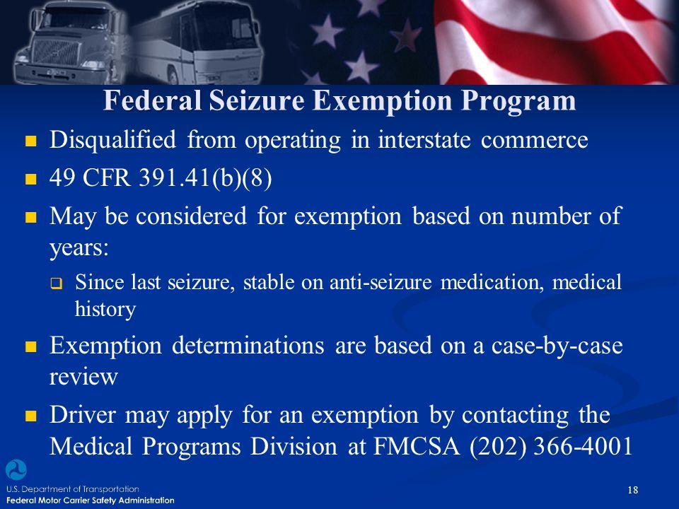 Federal Seizure Exemption Program