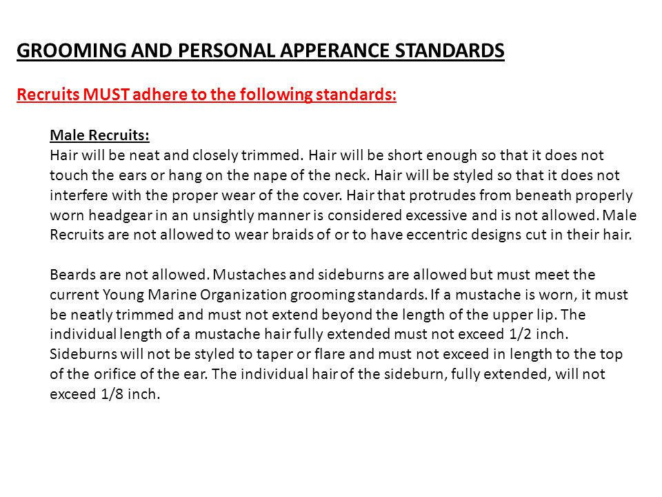 GROOMING AND PERSONAL APPERANCE STANDARDS