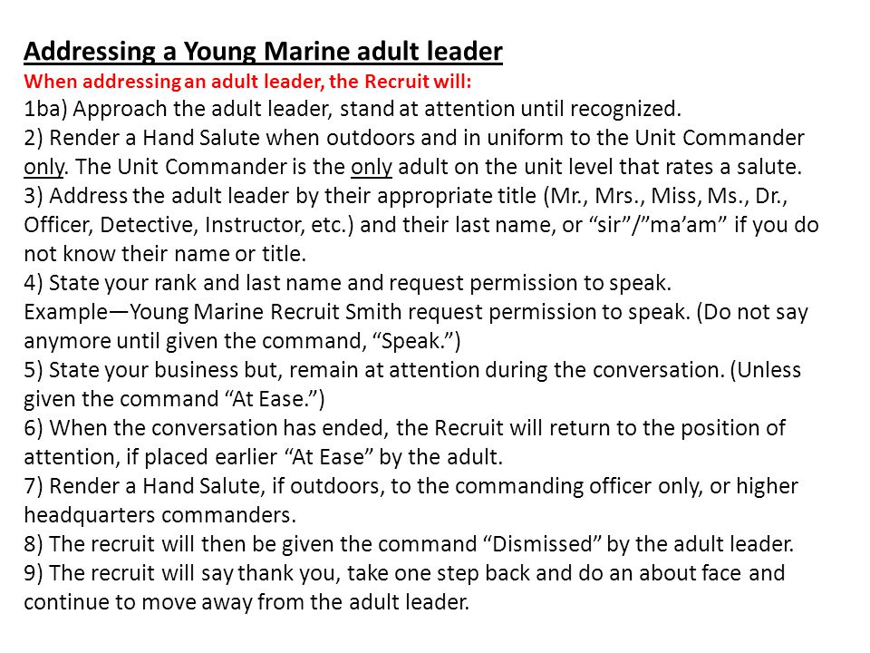 Addressing a Young Marine adult leader: