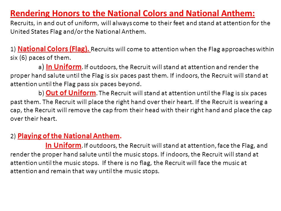 Rendering Honors to the National Colors and National Anthem:
