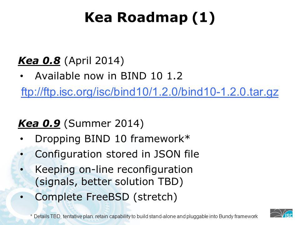 Kea Roadmap (1) ftp://ftp.isc.org/isc/bind10/1.2.0/bind10-1.2.0.tar.gz