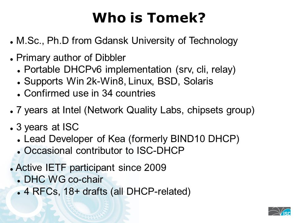 Who is Tomek M.Sc., Ph.D from Gdansk University of Technology