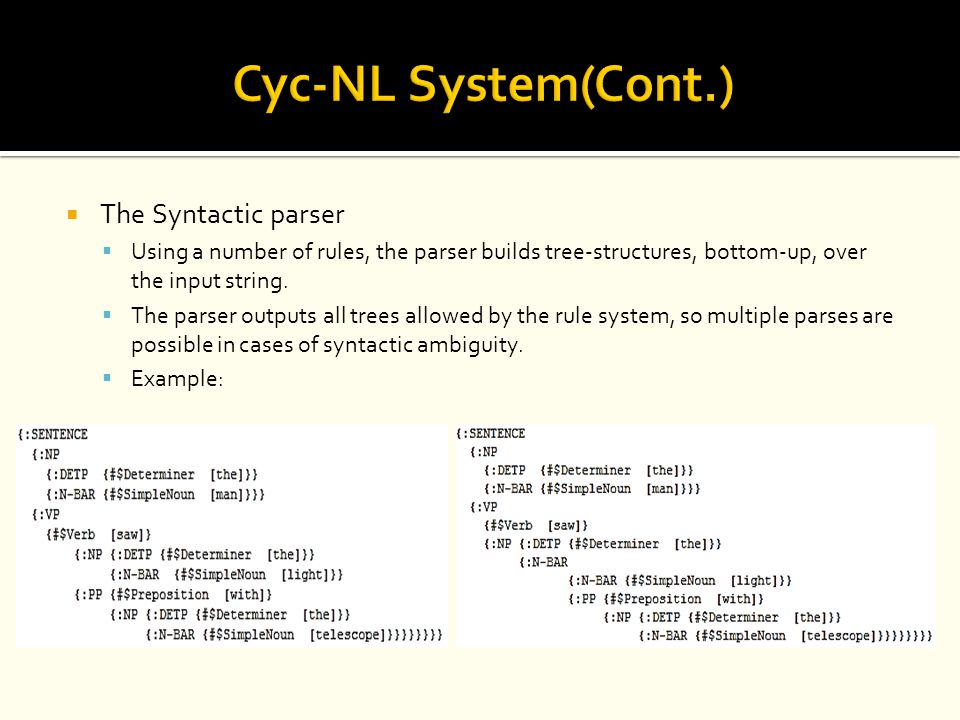 Cyc-NL System(Cont.) The Syntactic parser