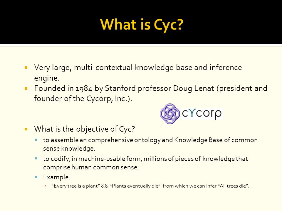 What is Cyc Very large, multi-contextual knowledge base and inference engine.