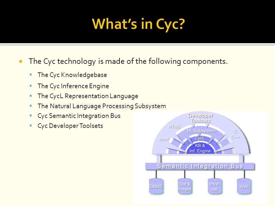 What's in Cyc The Cyc technology is made of the following components.