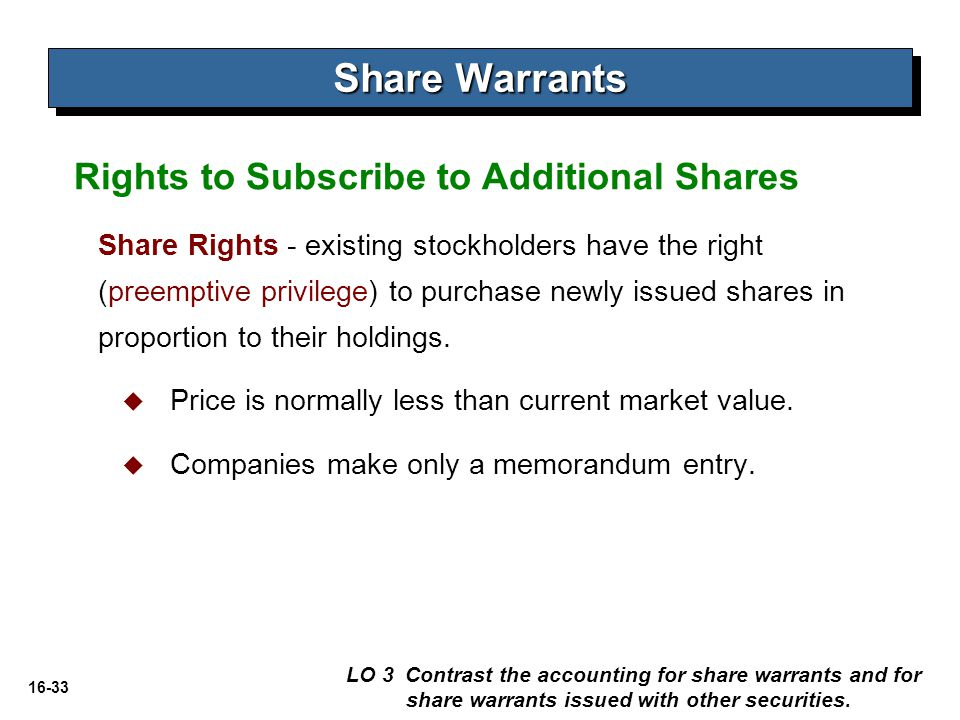 Share Warrants Rights to Subscribe to Additional Shares