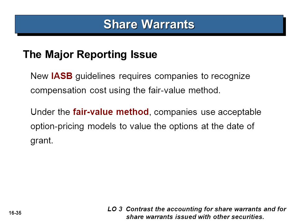 Share Warrants The Major Reporting Issue