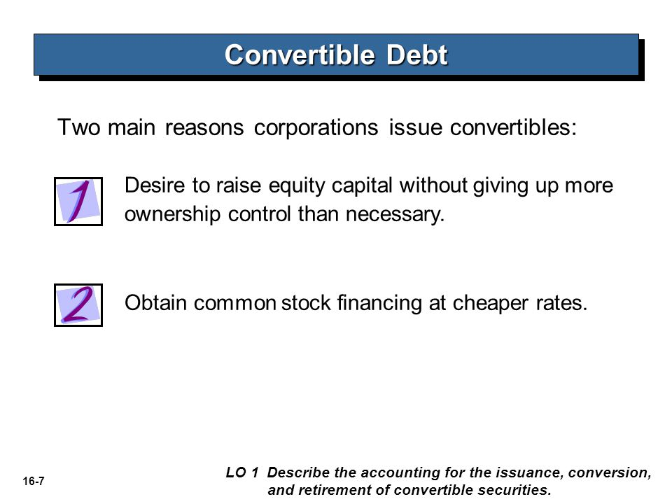 Convertible Debt Two main reasons corporations issue convertibles: