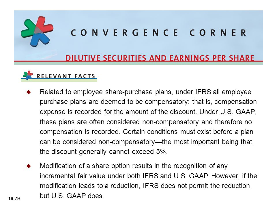 Related to employee share-purchase plans, under IFRS all employee purchase plans are deemed to be compensatory; that is, compensation expense is recorded for the amount of the discount. Under U.S. GAAP, these plans are often considered non-compensatory and therefore no compensation is recorded. Certain conditions must exist before a plan can be considered non-compensatory—the most important being that the discount generally cannot exceed 5%.