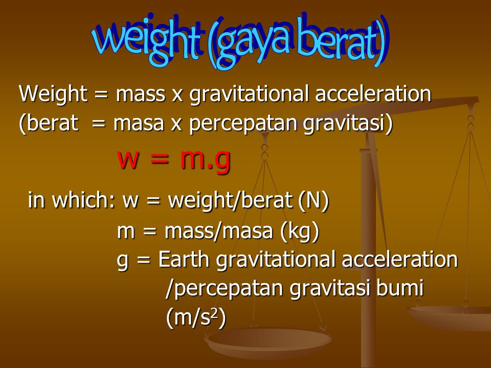 in which: w = weight/berat (N)