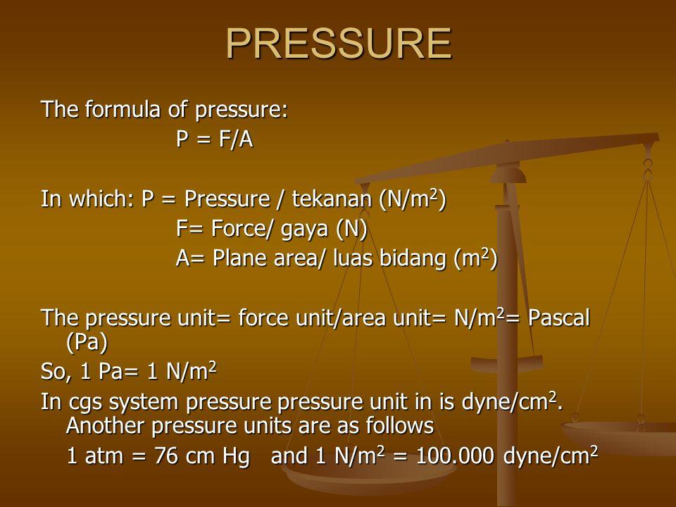 PRESSURE The formula of pressure: P = F/A