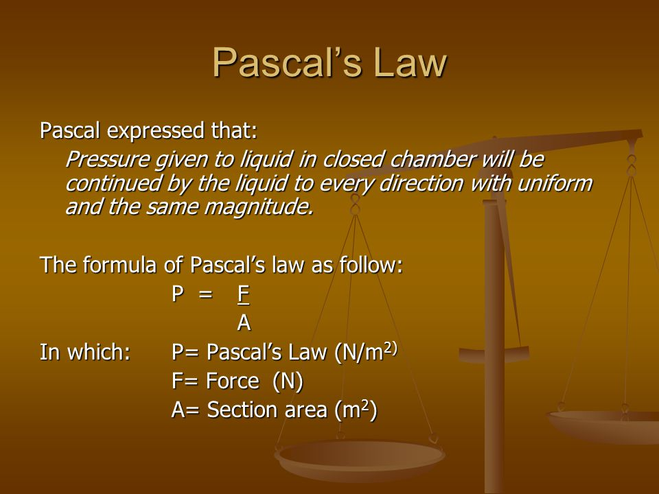 Pascal's Law Pascal expressed that: