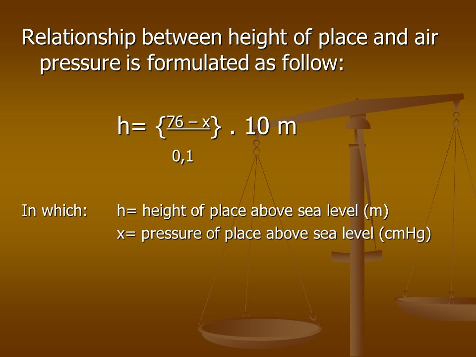 Relationship between height of place and air pressure is formulated as follow: